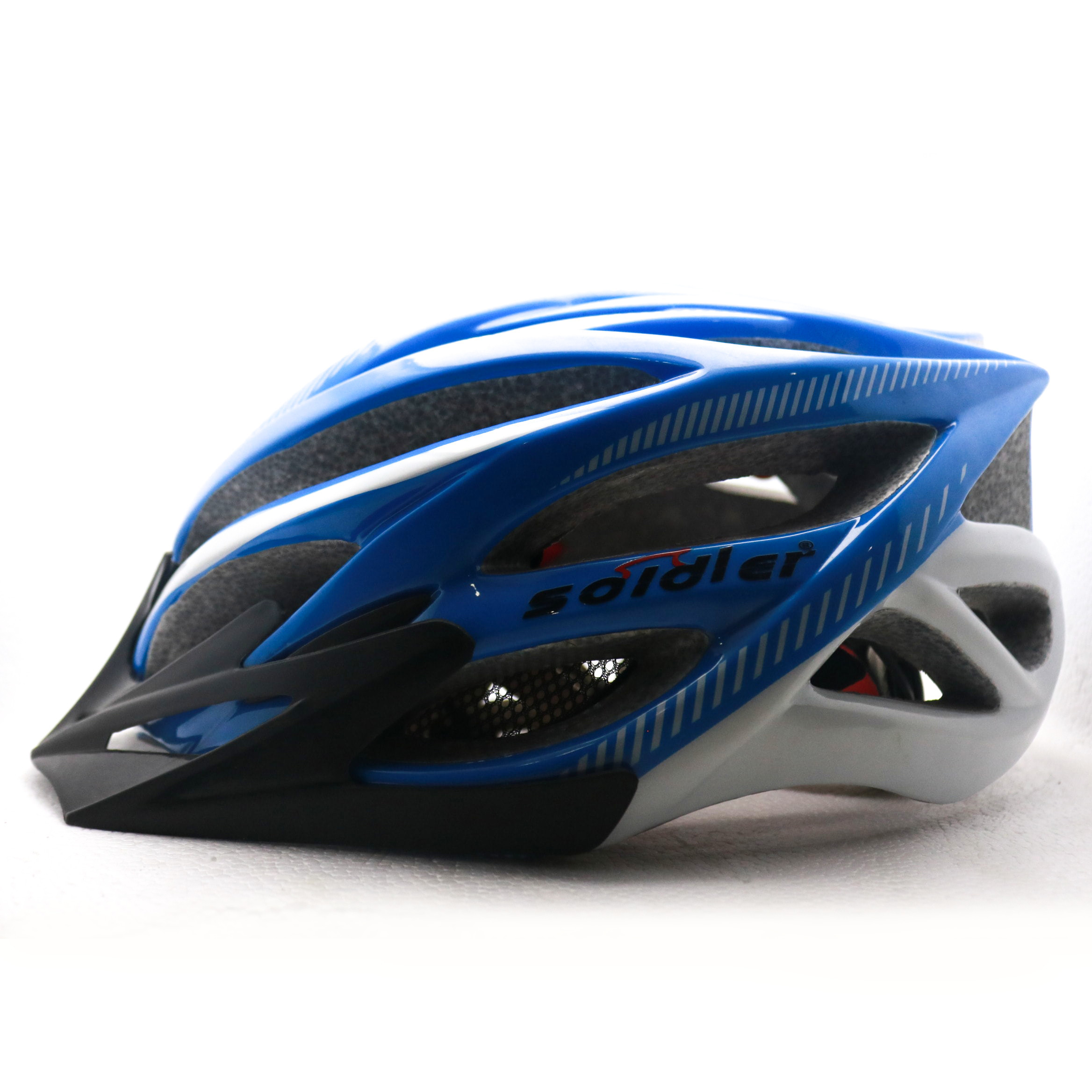 Cycling Helmet - Blue (Soldier) with LED Light