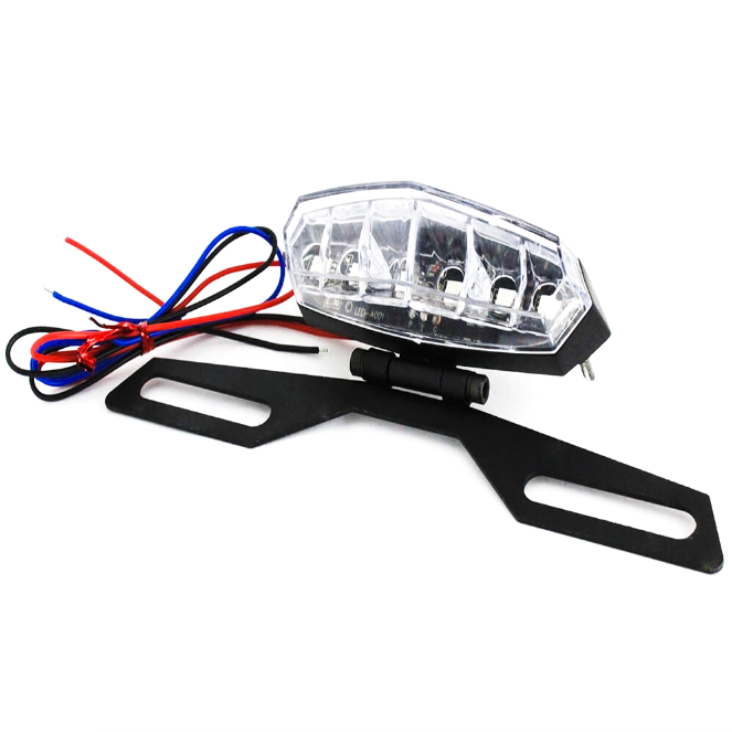 Motorcycle Number plate holder with 6 LED tail light triangle