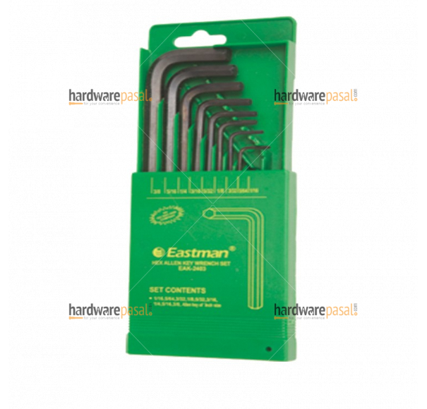 Eastman 9 PCS. Hex Allen Keys Set - Short Pattern (mm Size)  EAK- 2403