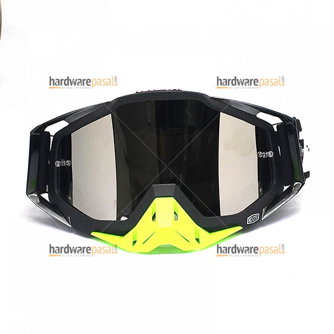 100% Black and Neon MX Goggles