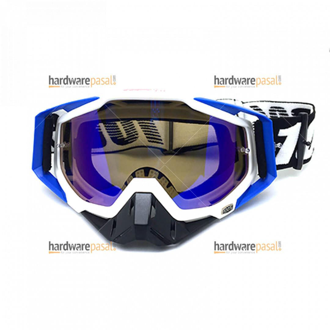100% MX Goggles Blue White Mix