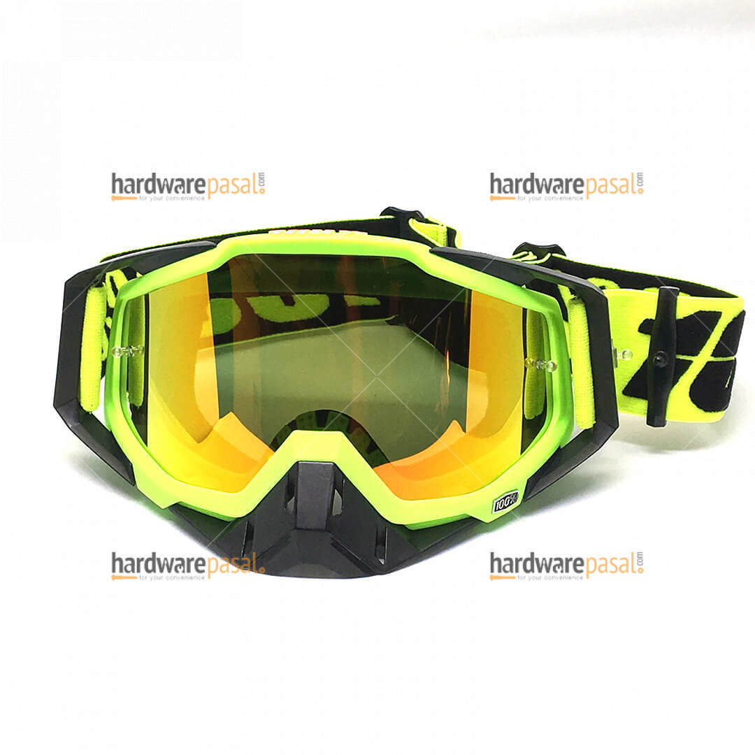 100% Neon and Black Mix MX Goggles