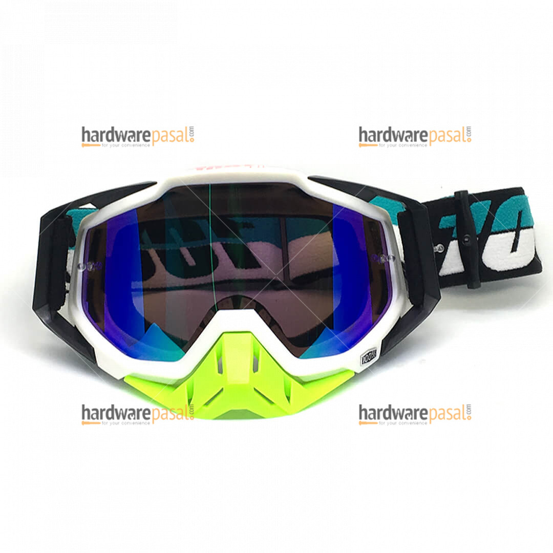 100% Blue and Neon Mix MX Goggles